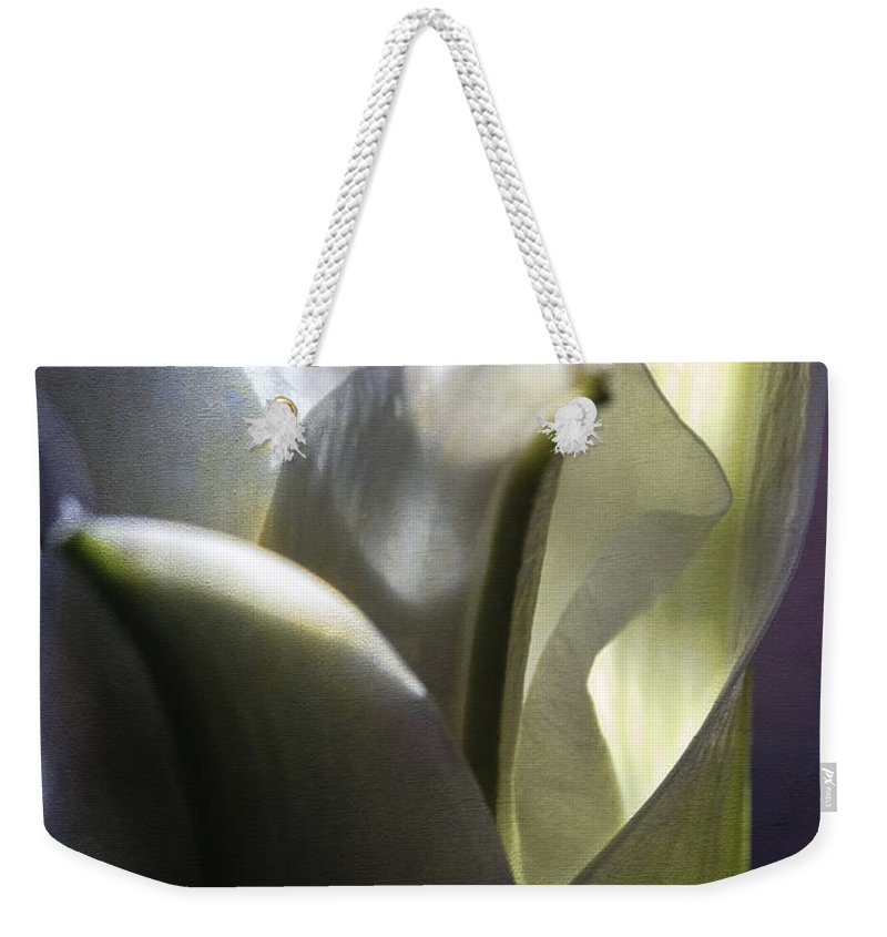 Botanicals Weekender Tote Bag featuring the photograph Lily's Eve by Linda Dunn