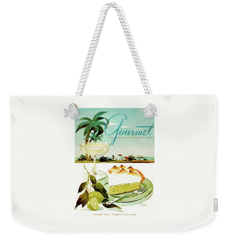 Food Weekender Tote Bag featuring the photograph Lime Meringue Pie With Champagne by Henry Stahlhut
