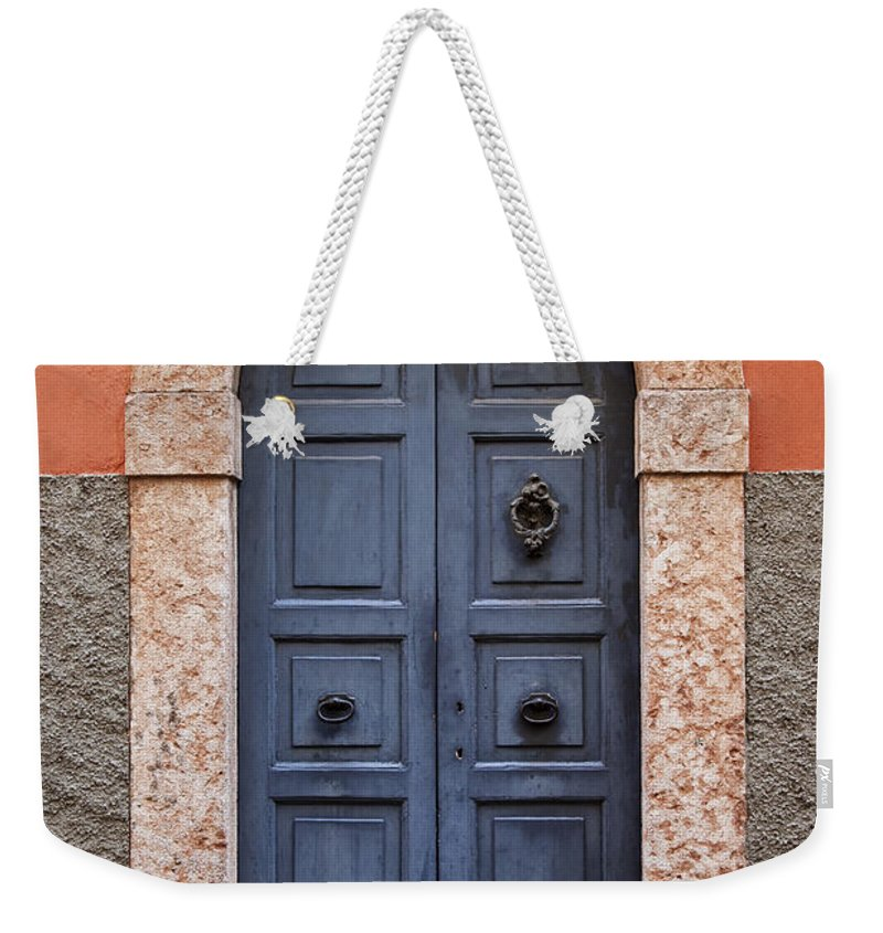 Wood Door Weekender Tote Bag featuring the photograph Limone Door by Brian Jannsen
