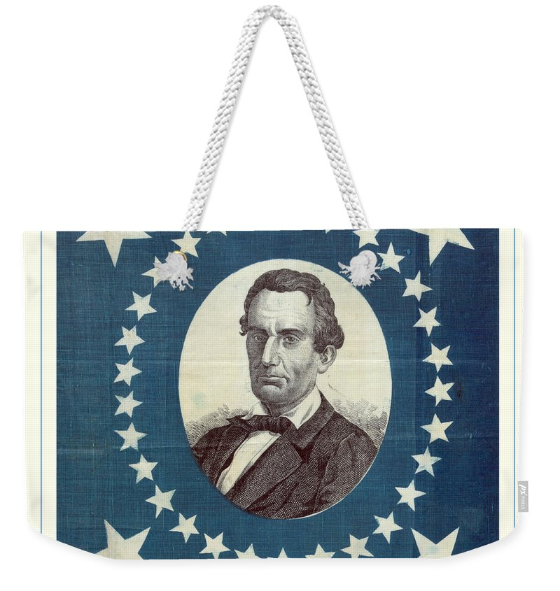 Lincoln Weekender Tote Bag featuring the photograph Lincoln 1860 Presidential Campaign Banner - Bust Portrait by John Stephens