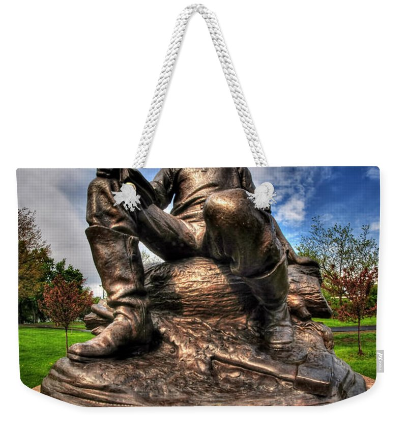 Hoyt Lake Weekender Tote Bag featuring the photograph Lincoln At Delaware Park by Michael Frank Jr