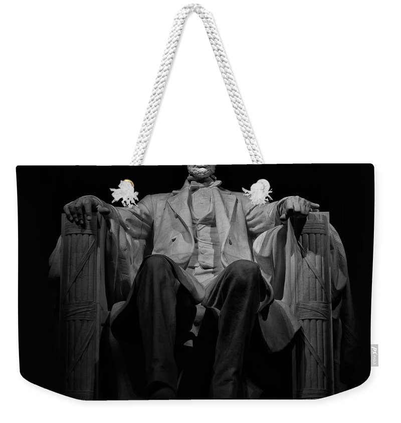 Lincoln Memorial Weekender Tote Bag featuring the photograph Lincoln In Solitude by Jerry Fornarotto