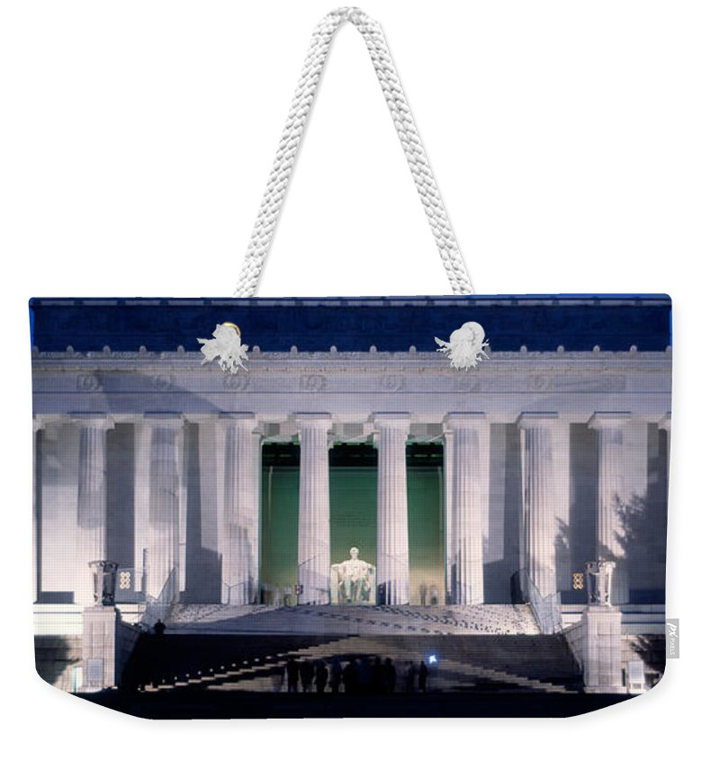 Photography Weekender Tote Bag featuring the photograph Lincoln Memorial At Dusk, Washington by Panoramic Images