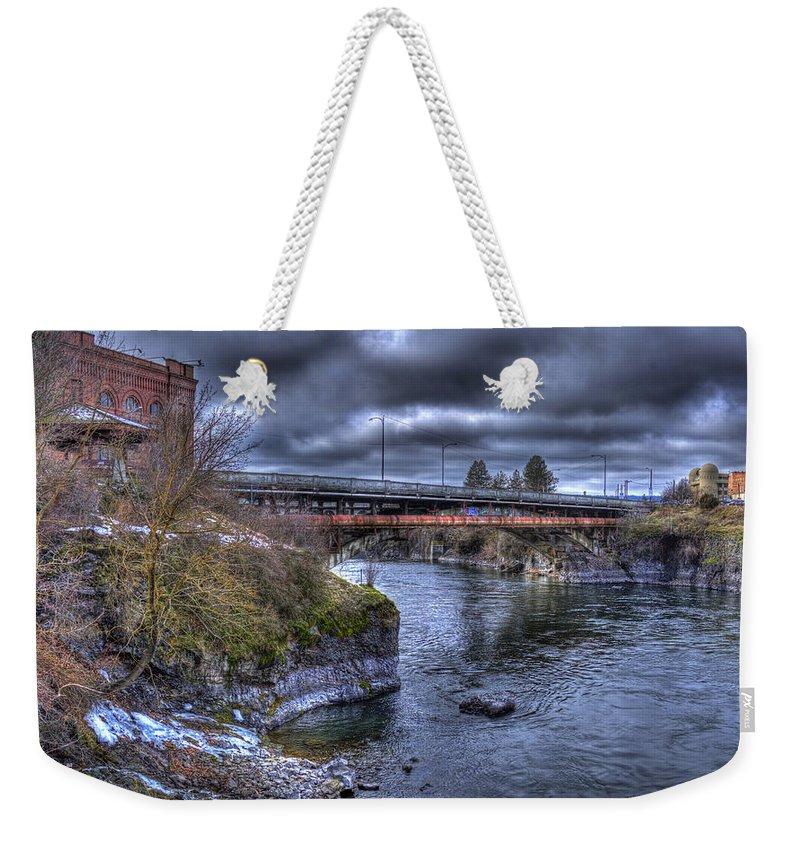 Lincoln Street Bridge Weekender Tote Bag featuring the photograph Lincoln Street Bridge 2013 by Lee Santa