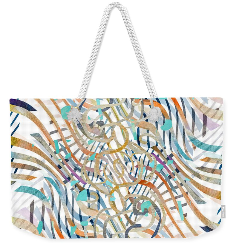 Abstract Weekender Tote Bag featuring the digital art Line Movement by Ruth Palmer