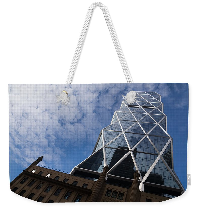 Lines Weekender Tote Bag featuring the photograph Lines Triangles And Cloud Puffs - Hearst Tower In New York City by Georgia Mizuleva