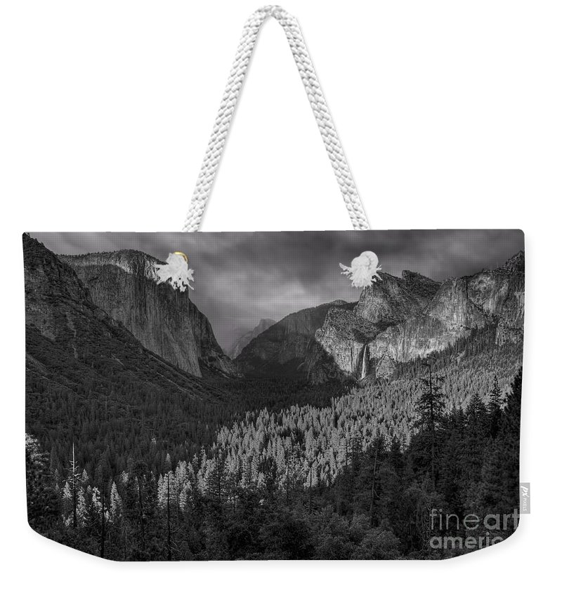 El Capitan Weekender Tote Bag featuring the photograph Lingering Shadows In Grey by James Anderson