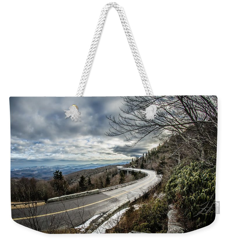 Road Weekender Tote Bag featuring the photograph Linn Cove Viaduct During Winter Near Blowing Rock Nc by Alex Grichenko