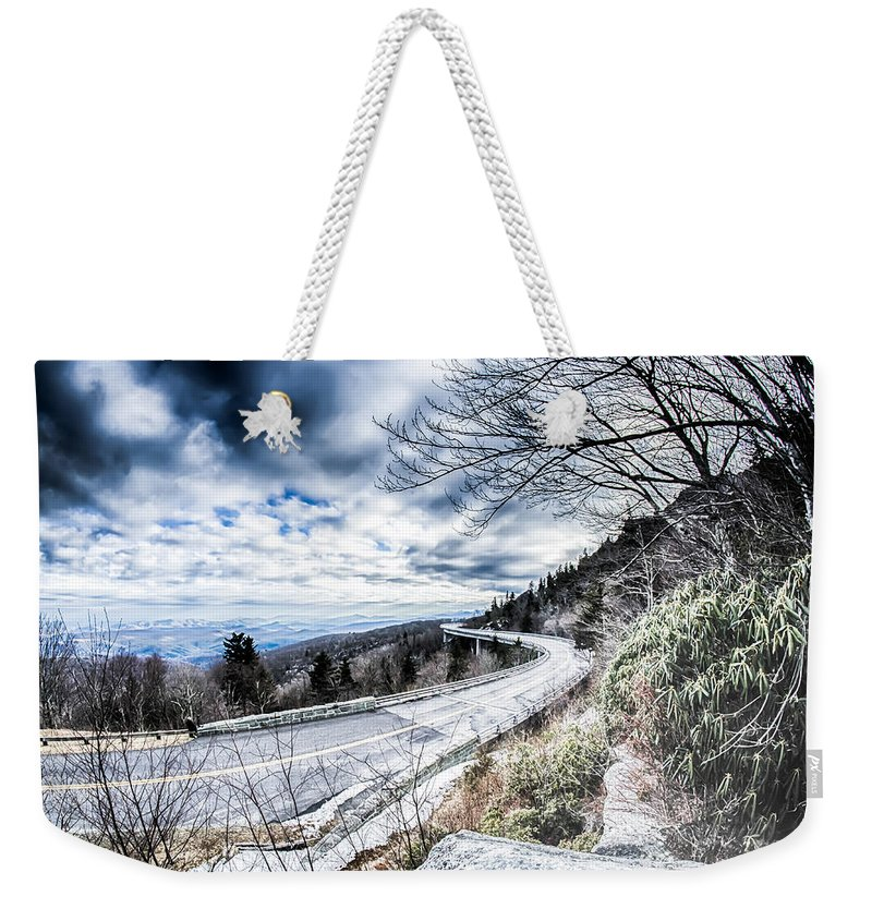 Appalachian Weekender Tote Bag featuring the photograph Linn Cove Viaduct Winter Scenery by Alex Grichenko