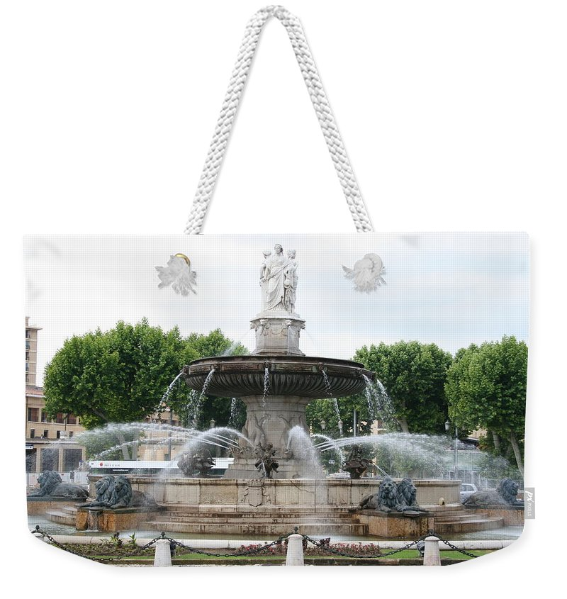 Fountain Weekender Tote Bag featuring the photograph Lion Fountain - Aix En Provence by Christiane Schulze Art And Photography