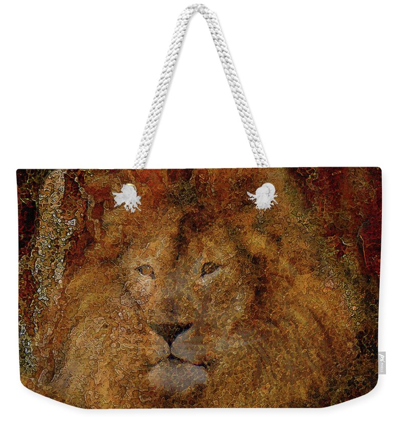 Lion Art Weekender Tote Bag featuring the photograph Lion Of Judah by Constance Woods