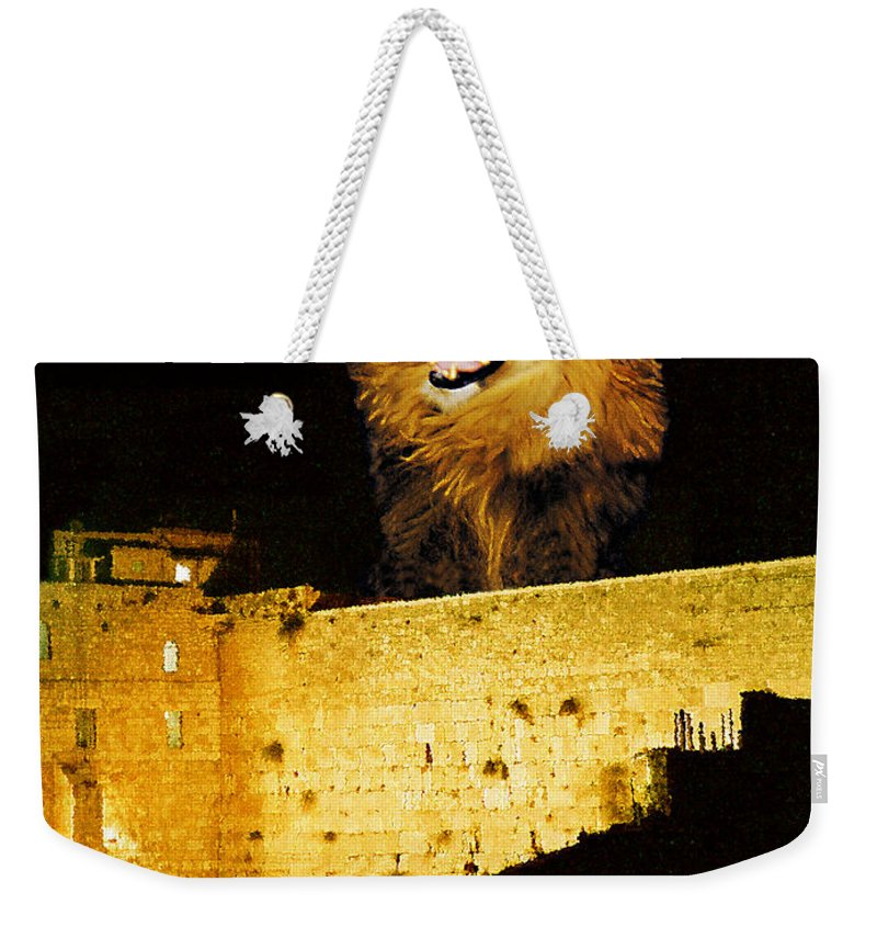 Lion Weekender Tote Bag featuring the painting Lion Of Judah Roar From Zion by Constance Woods