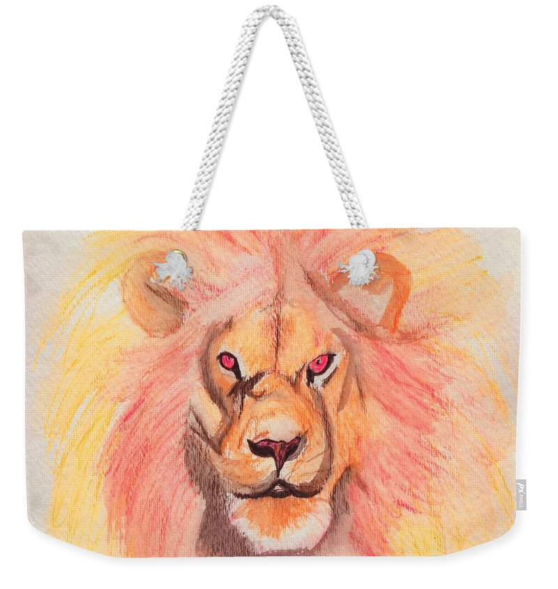 Lion Weekender Tote Bag featuring the painting Lion Orange by First Star Art