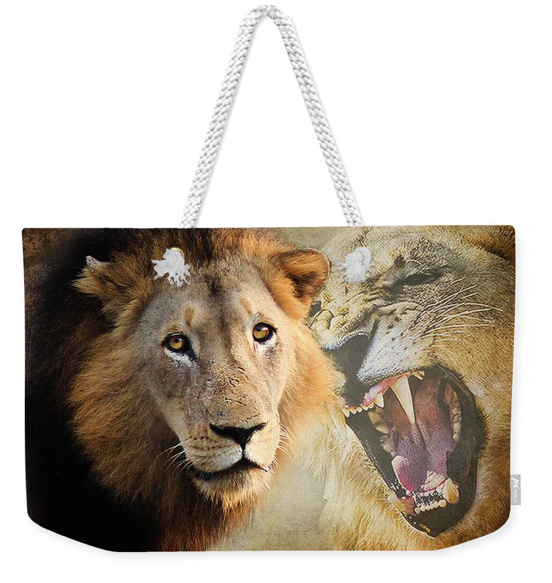 Photography Weekender Tote Bag featuring the photograph Lion Profile by Ronel Broderick