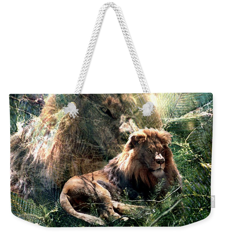 Lion Weekender Tote Bag featuring the digital art Lion Spirit by Lisa Yount