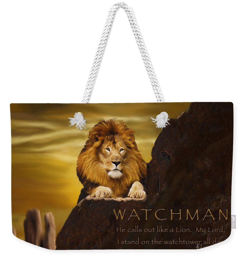 Lion Weekender Tote Bag featuring the digital art Lion Watchman by Constance Woods