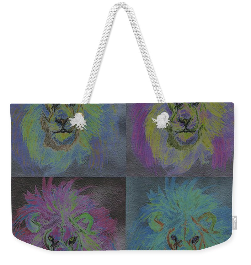 First Star Art Weekender Tote Bag featuring the painting Lion X 4 Color By Jrr by First Star Art
