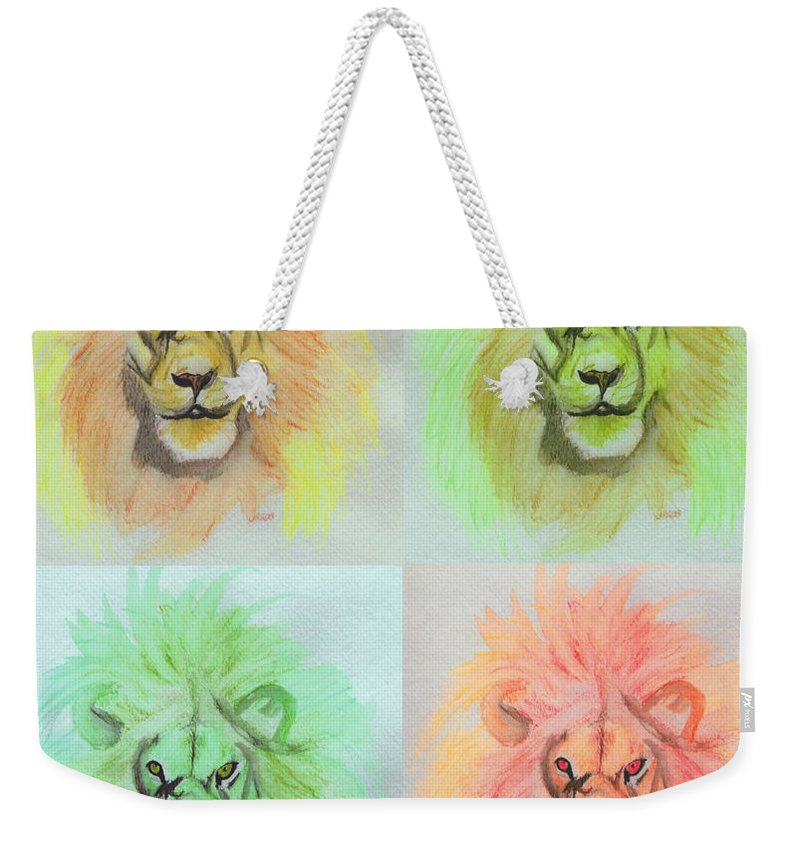 Lion Weekender Tote Bag featuring the painting Lion X 4 by First Star Art