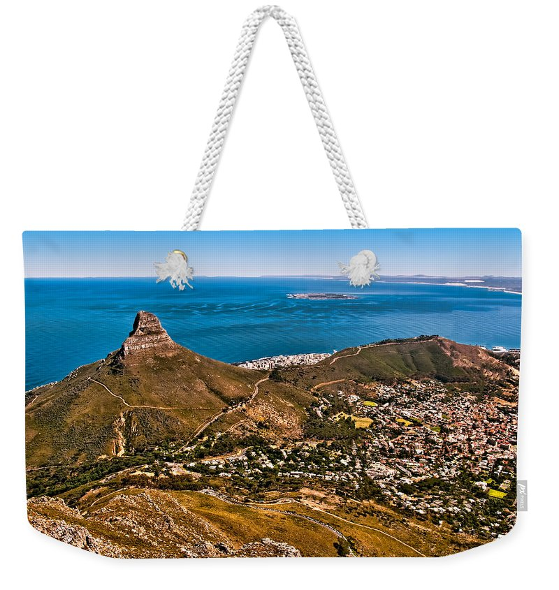 Africa Weekender Tote Bag featuring the photograph Lion's Head by Maria Coulson