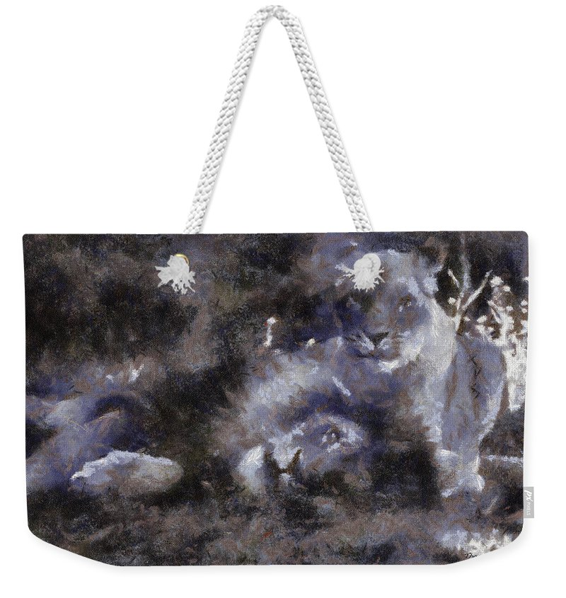 Wildlife Weekender Tote Bag featuring the photograph Lions Photo Art 02 by Thomas Woolworth