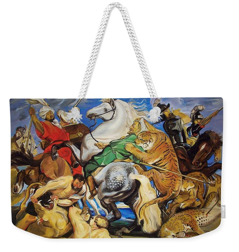 Lanscape Weekender Tote Bag featuring the painting Lions Tigers And Leopard Hunt Homage To Rubens by Jude Darrien