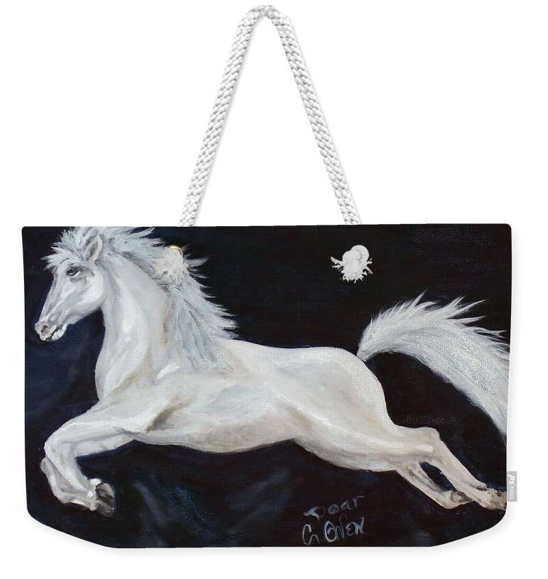 Horse Weekender Tote Bag featuring the painting Lipizzaner Capriole by Caroline Owen-Doar