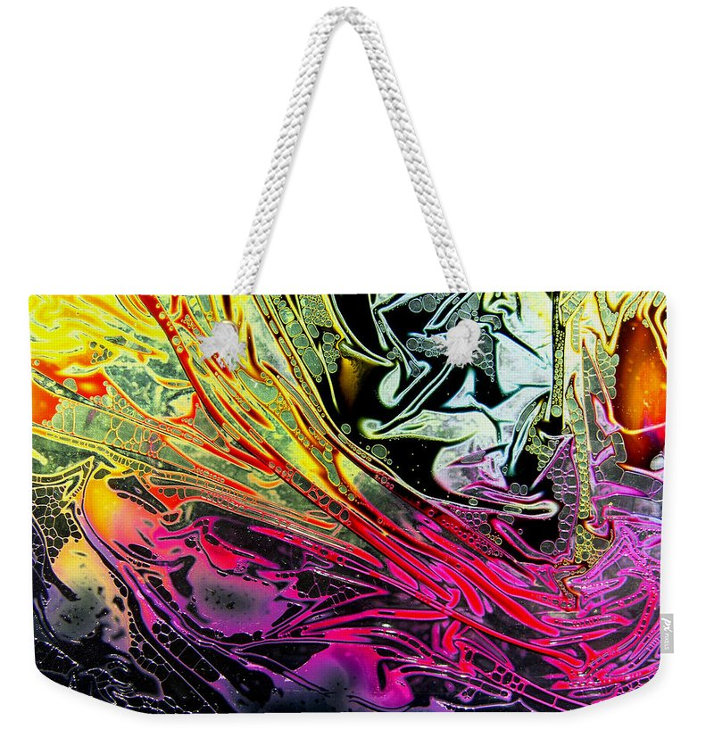 Surrealism Weekender Tote Bag featuring the digital art Liquid Decalcomaniac Desires 1 by Otto Rapp
