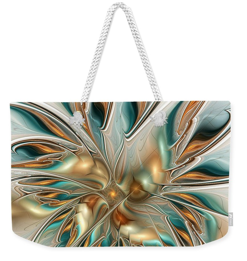 Liquid Weekender Tote Bag featuring the digital art Liquid Flame by Anastasiya Malakhova