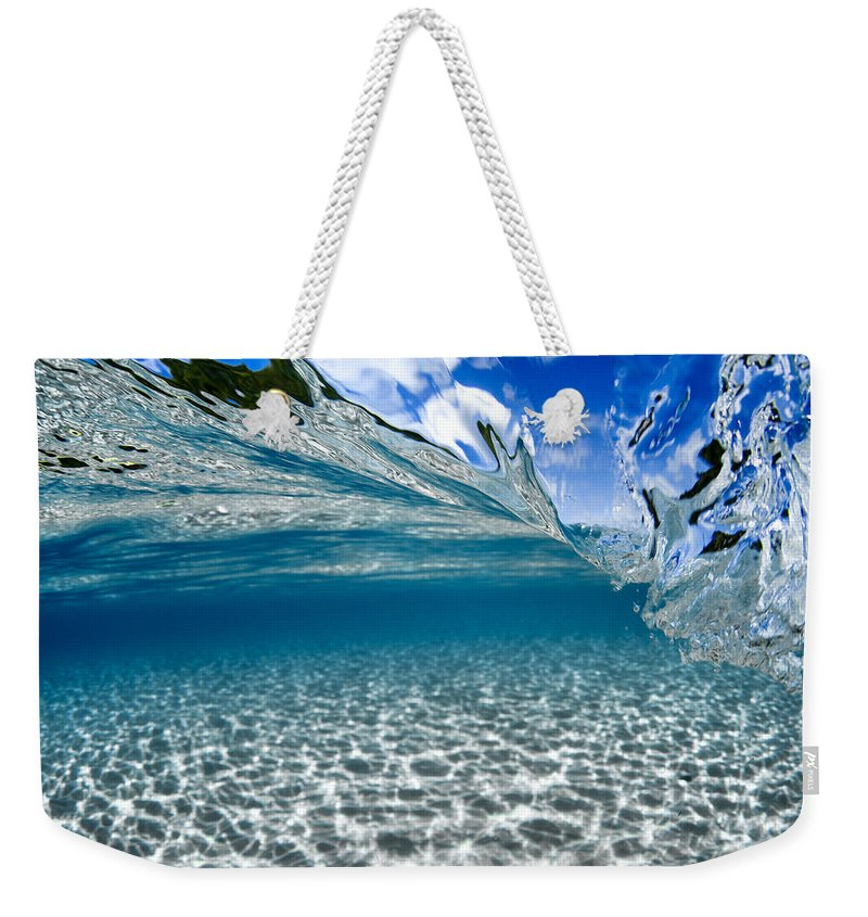 Waimea Bay Weekender Tote Bag featuring the photograph Liquid Motion by Sean Davey