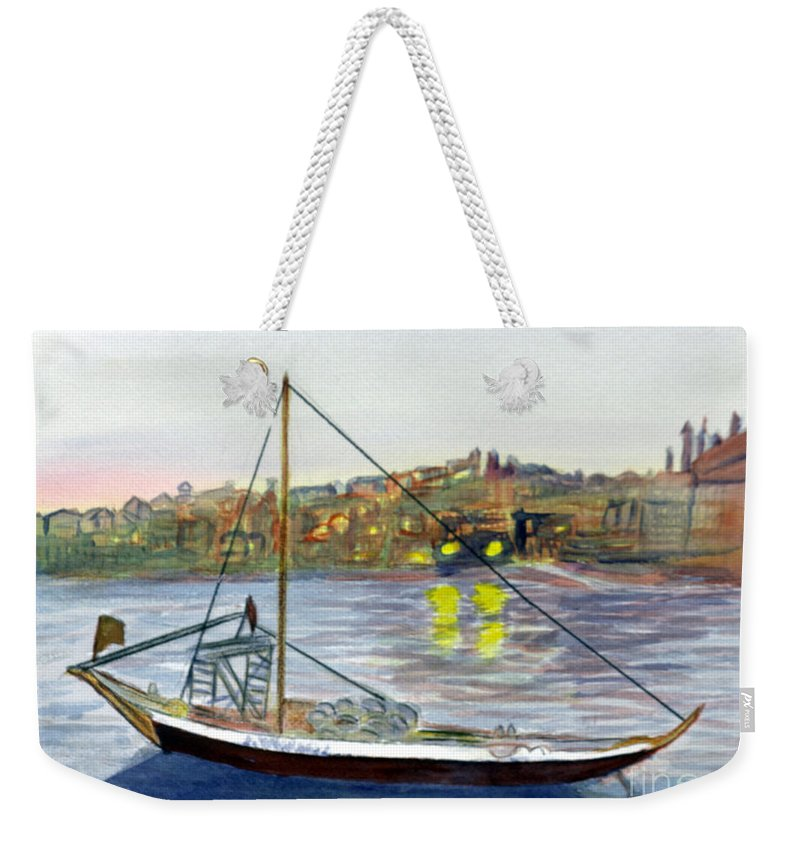 Blue Weekender Tote Bag featuring the painting Lisbon Portugal by Donna Walsh