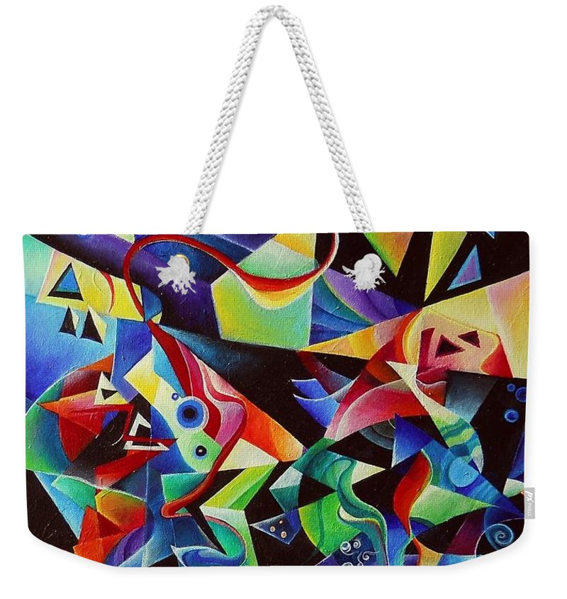 Arnold Schoenberg Piano Concert No.1 Acrylic Abstract Pens Music Weekender Tote Bag featuring the painting listening to piano concert op.42 of Arnold Schoenberg by Wolfgang Schweizer