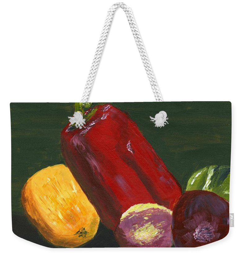 Vegetables Weekender Tote Bag featuring the painting Lite Fare by Alice Faber