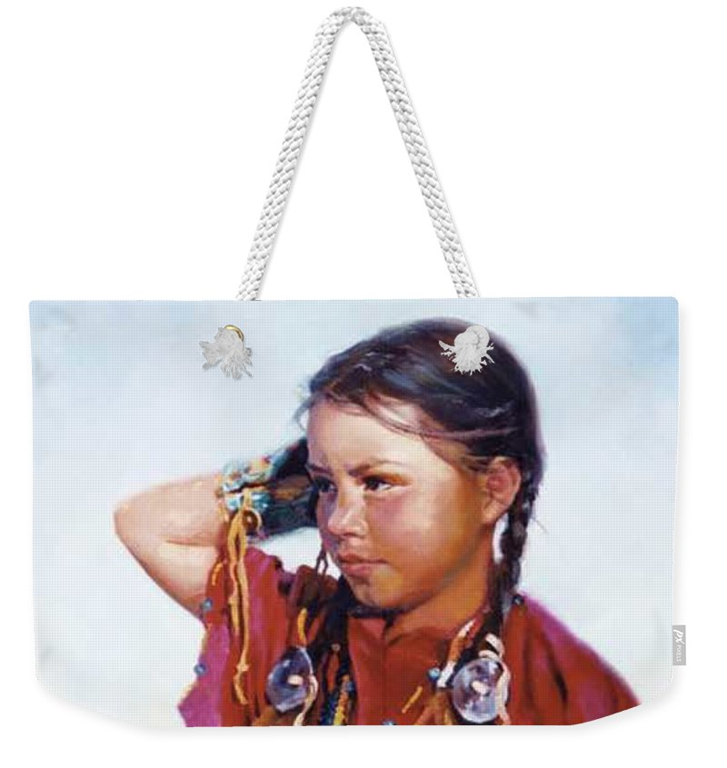 Indian Weekender Tote Bag featuring the painting Little American Beauty II by Jean Hildebrant
