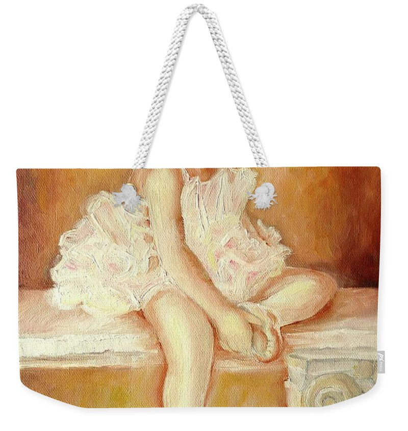 Ballerinas Weekender Tote Bag featuring the painting Little Ballerina by Carole Spandau