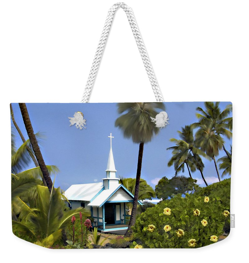 Hawaii Weekender Tote Bag featuring the photograph Little Blue Church Kona by Kurt Van Wagner