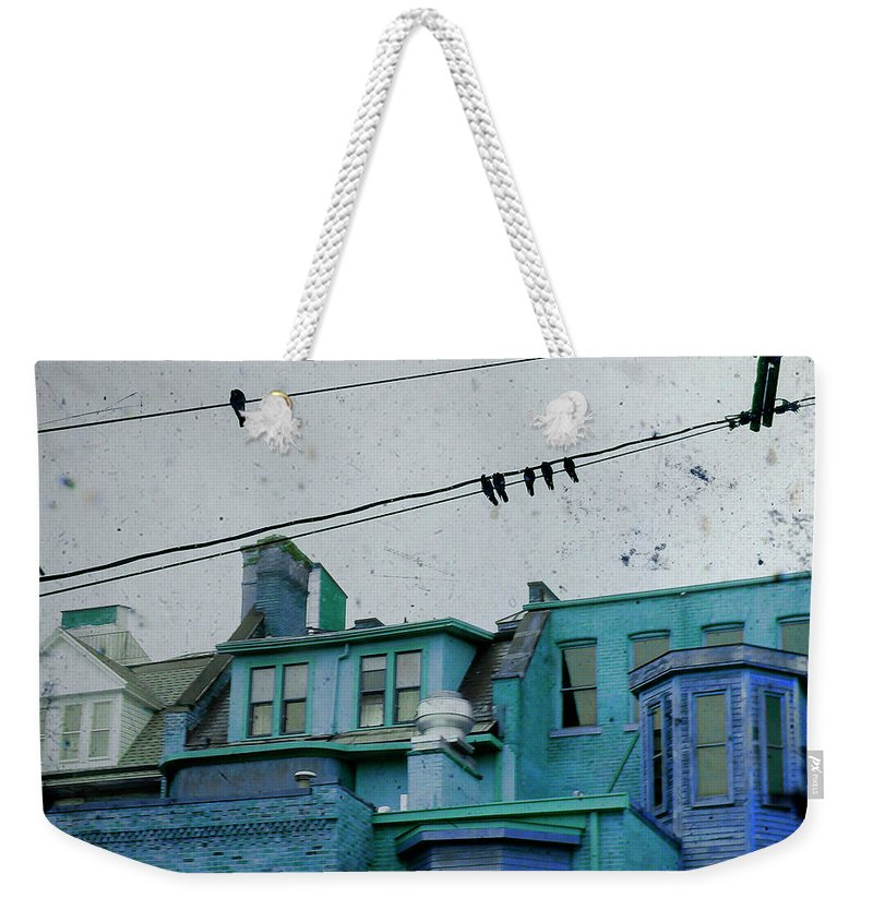 Urban Houses Weekender Tote Bag featuring the photograph Little Blue Houses by Gothicrow Images