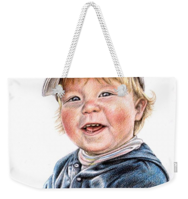 Boy Weekender Tote Bag featuring the drawing Little Boy by Nicole Zeug