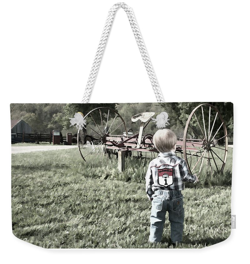 Little Boy Weekender Tote Bag featuring the photograph Little Boy On Farm by Photos By Cassandra