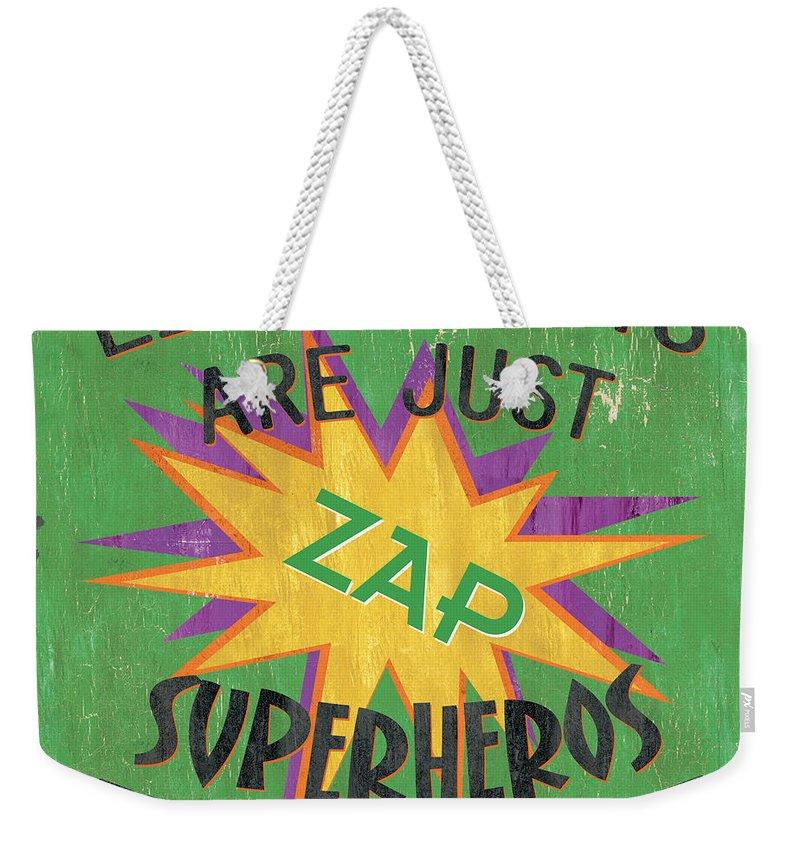 Kids Weekender Tote Bag featuring the painting Little Boys Are Just... by Debbie DeWitt