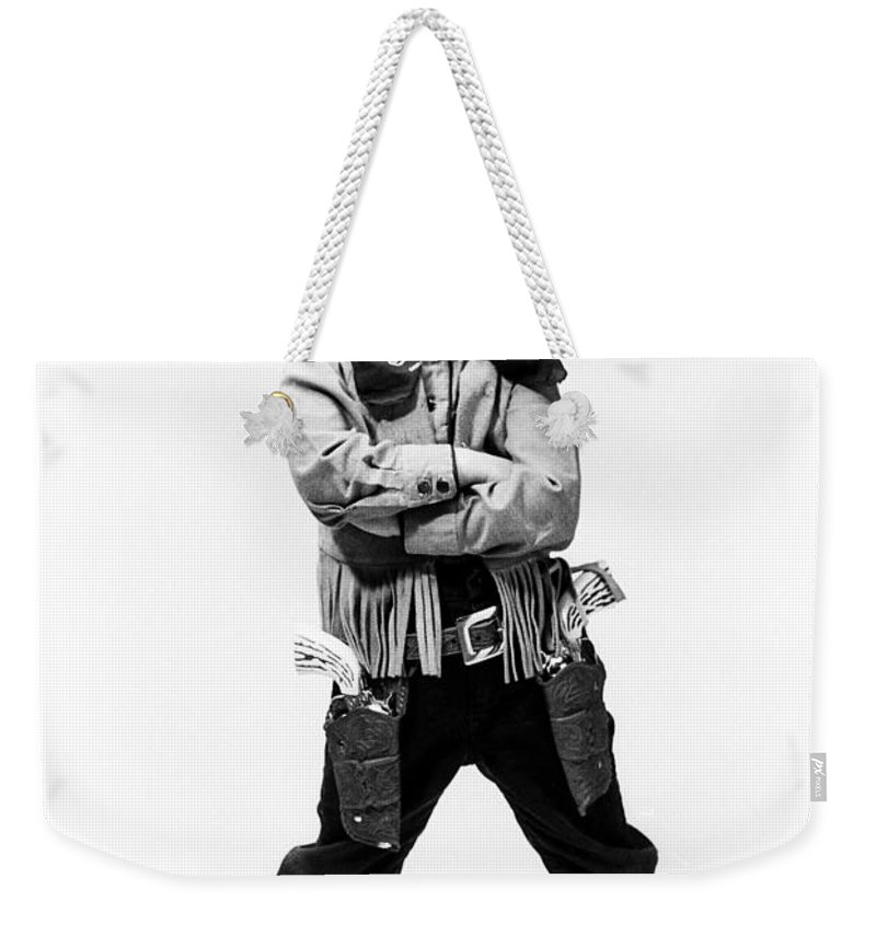 Cowboy Weekender Tote Bag featuring the photograph Little Buckaroo by Jerry McElroy