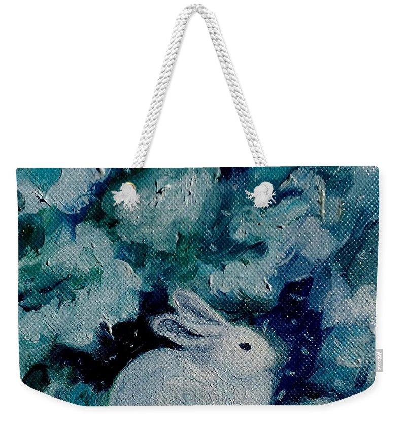 Bunny Weekender Tote Bag featuring the painting Little Bunny Foo Foo by Julie Brugh Riffey