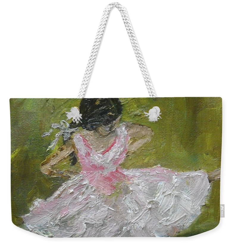 Girl Weekender Tote Bag featuring the painting Little Dansarina by Reina Resto