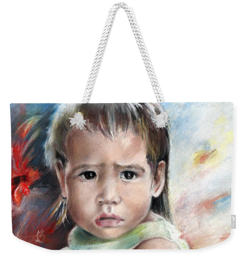 Travel Weekender Tote Bag featuring the painting Little Girl From Tahiti by Miki De Goodaboom