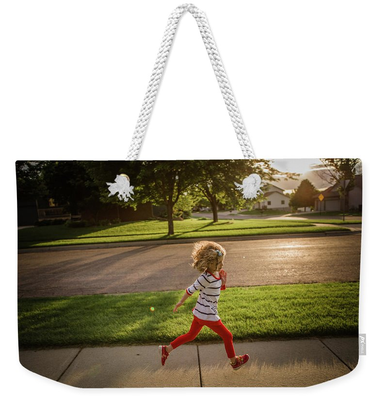 4-5 Years Weekender Tote Bag featuring the photograph Little Girl Running by Annie Otzen