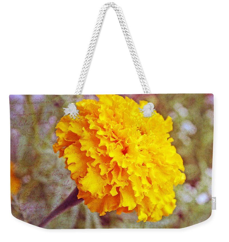 Nature Weekender Tote Bag featuring the photograph Little Golden Marigold by Kay Novy