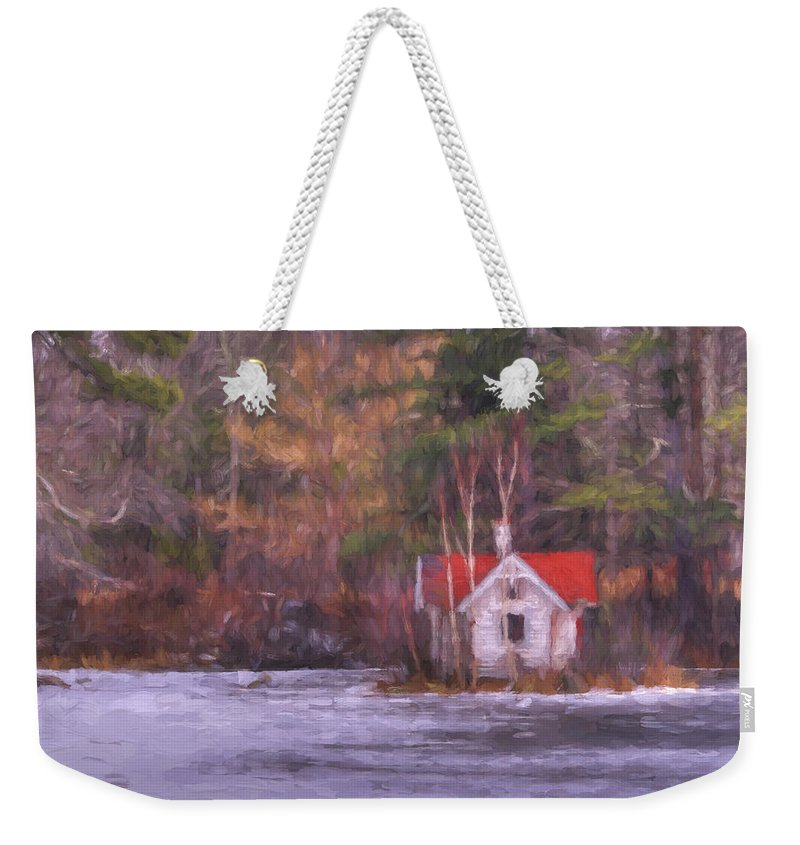 Lake Weekender Tote Bag featuring the mixed media Little House On The Lake by Jean-Pierre Ducondi
