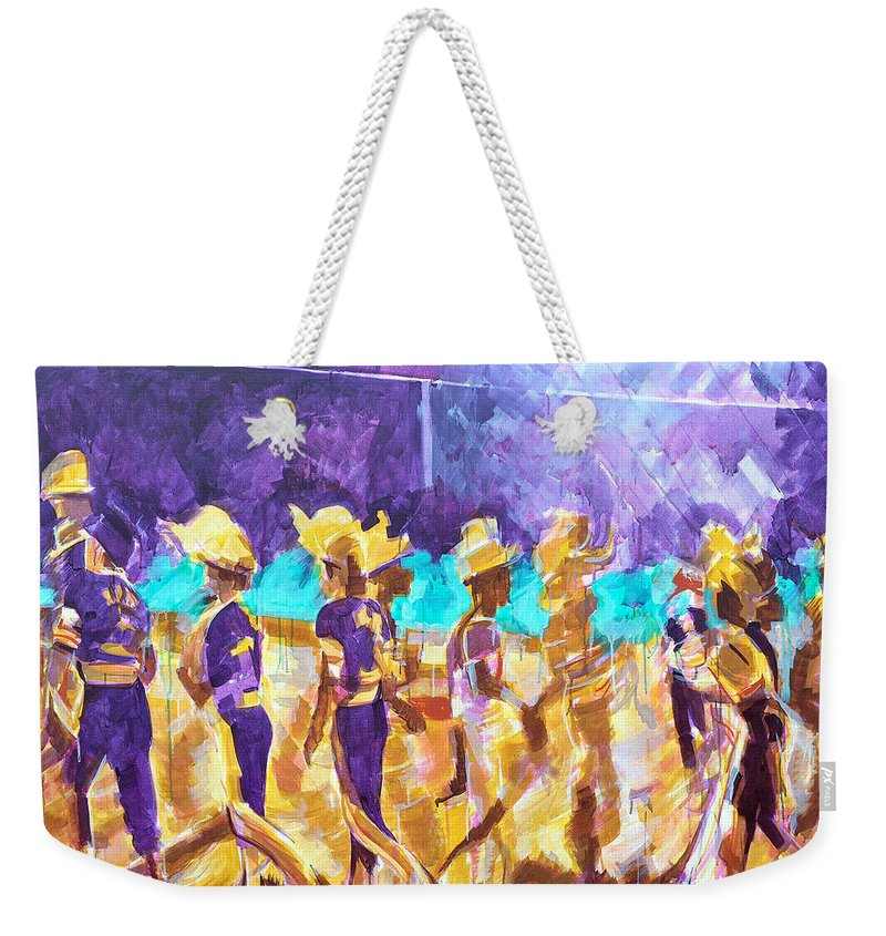 Good Sportsmanship Weekender Tote Bag featuring the painting Little League Victory - Game End by Charles M Williams