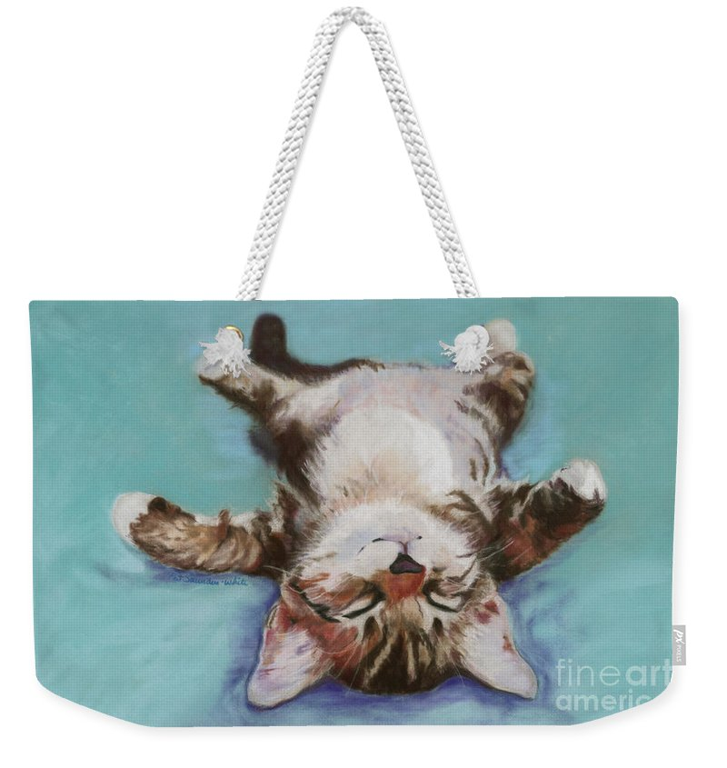 Cat Painting Weekender Tote Bag featuring the pastel Little Napper by Pat Saunders-White
