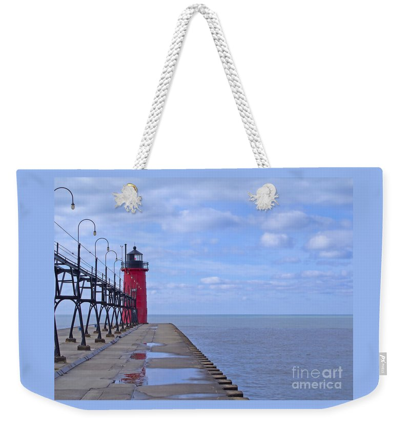 Lighthouse Weekender Tote Bag featuring the photograph Little Red Light by Ann Horn