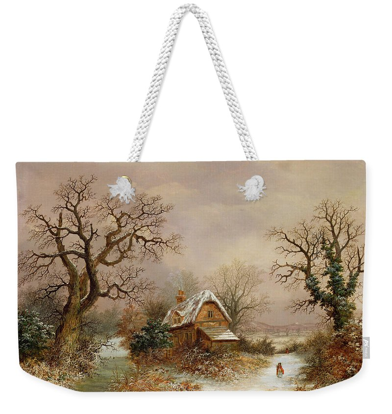 Story Weekender Tote Bag featuring the painting Little Red Riding Hood In The Snow by Charles Leaver